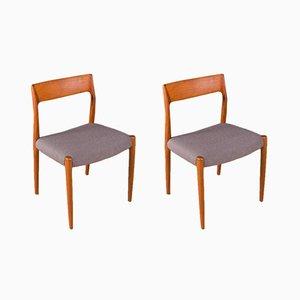 Modell 77 Stühle von Niels O. Møller für J.L. Møllers, 1950, 2er Set