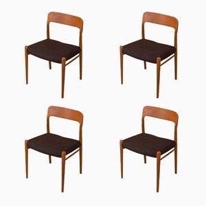 Modell 75 Stühle von Niels O. Møller für J.L. Møllers, 1950er, 4er Set
