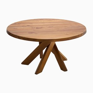French Model T21D Elm Dining Table by Pierre Chapo, 1970s