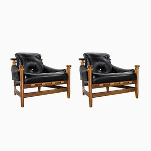Mid-Century Rosewood & Leather Bertioga Chairs by Jean Gillon for Italma Wood Art, Set of 2
