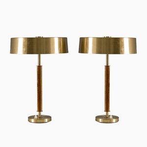 Lámparas de mesa suecas Mid-Century de latón y madera de Boréns. Juego de 2
