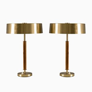 Swedish Mid-Century Table Lamps in Brass and Wood from Boréns, Set of 2