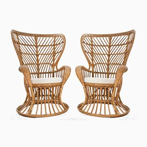 Handcrafted Rattan High Back Armchairs by Lio Carminati & Gio Ponti, 1950s, Set of 2