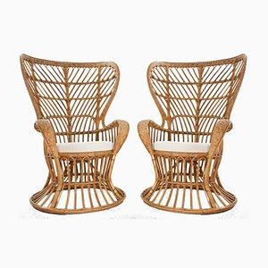 Poltrone artigianali in vimini con schienale alto di Lio Carminati e Gio Ponti, anni '50, set di 2