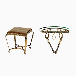 Mid-Century Gilded Iron Stool & Console by Pier Luigi Colli