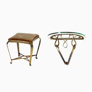Mid-Century Hocker aus vergoldetem Eisen & Konsole von Pier Luigi Colli