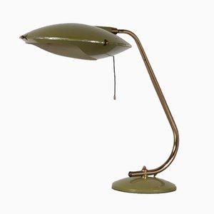 Lámpara de mesa de metal y latón lacado, años 50