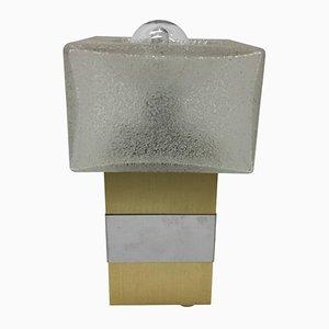 Lámpara de mesa italiana de vidrio cromado y latón, años 70
