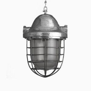 Lampada a sospensione industriale in alluminio, anni '50