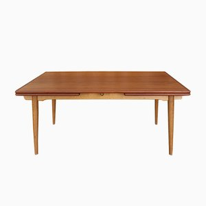 Model AT312 Oak & Teak Extendable Dining Table by Hans J. Wegner for Andreas Tuck, 1950s