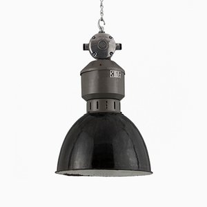 Lampada a sospensione industriale in acciaio e smaltata, anni '50
