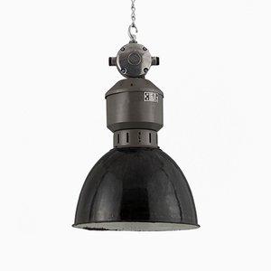 Lámpara colgante industrial de acero y esmalte, años 50
