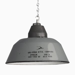 Hungarian Factory Pendant Lamp, 1940s