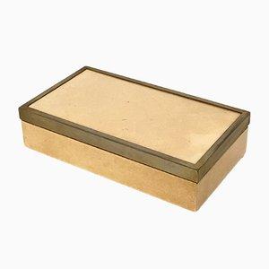 Caja italiana de pergamino y contrachapado de Aldo Tura, años 70