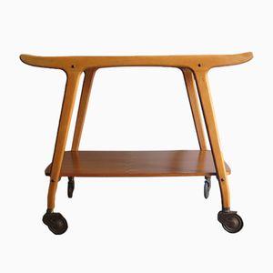 Carrello Mid-Century moderno con rotelle in ottone