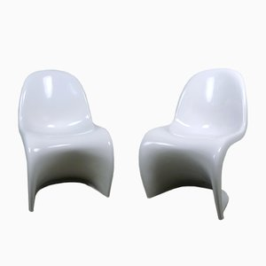 White Panton Chairs by Verner Panton for Vitra, 1971, Set of 2