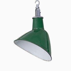 Lampada a sospensione inclinata industriale smaltata, anni '50