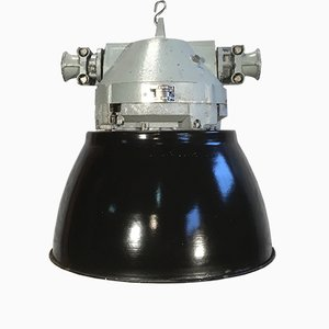 Lámpara vintage en gris de aluminio a prueba de explosión con pantalla esmaltada en negro