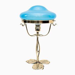 Art Nouveau Floral Opaline Glass Table Lamp, 1905