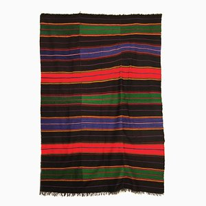 Large Vintage Handmade Black & Tri-Color Wool Rug
