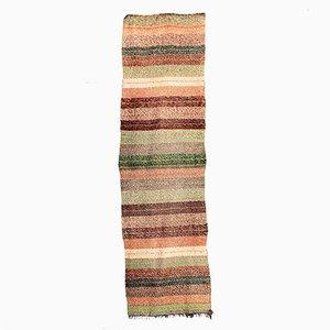 Alfombra de pasillo vintage de algodón de colores mixtos hecha a mano