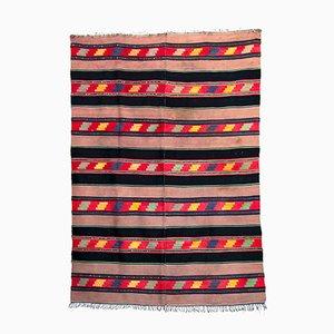 Alfombra vintage de lana negra y marrón con diseños geométricos hecha a mano