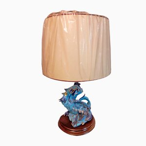 Vintage Table Lamp with Ceramic Rooster