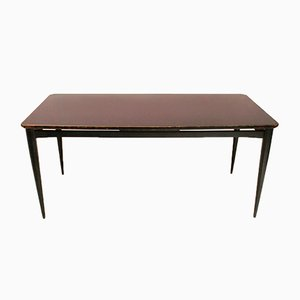 Italian Black Dining Table with Glass Top, 1960s