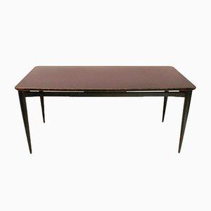 Mesa de comedor italiana negra con superficie de vidrio, años 60