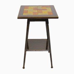 Tavolino Art Deco con mattonelle in ceramica