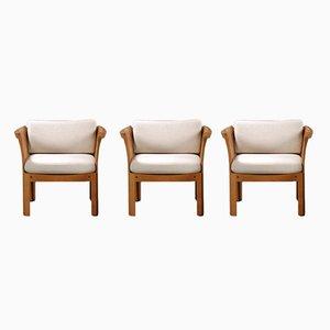 Plexus Sessel aus Eiche & grauem Stoff von Illum Vikkelso für CFC Silkeborg, 1970er, 3er Set