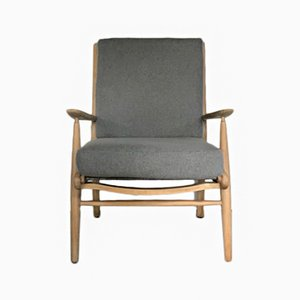 Mid-Century Elm Armchair in Wool from Scandart