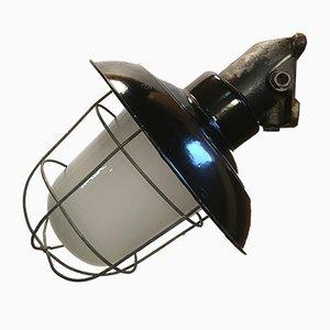 Lámpara de pared industrial vintage de hierro fundido y esmalte negro