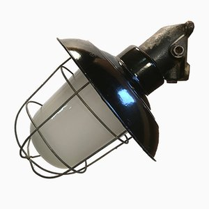 Vintage Industrial Black Enamel Cast Iron Wall Lamp