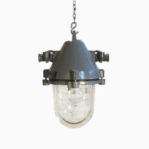 Dunkelgraue Aluminium Lampe, 1960er