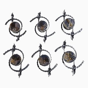 Brutalist Iron & Glass Wall Lamps, 1960s, Set of 6