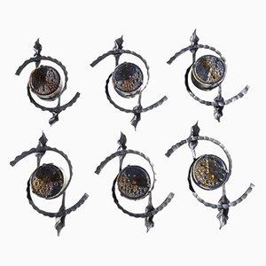 Brutalistische Wandlampen aus Eisen & Glas, 1960er, 6er Set