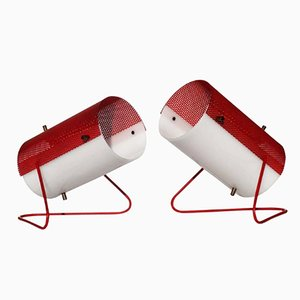 White & Red Table Lamps from Stilux, 1960s, Set of 2