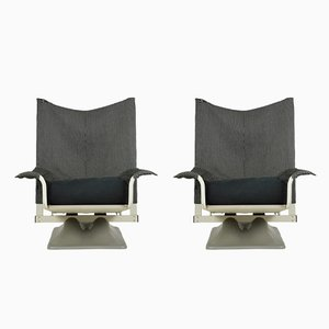 Black & White Fabric AEO Armchairs by Paolo Deganello & Archizoom Associates for Cassina, 1970s, Set of 2