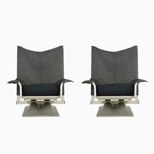 Poltrone AEO in stoffa bianca e nera di Paolo Deganello & Archizoom Associates per Cassina, anni '70, set di 2