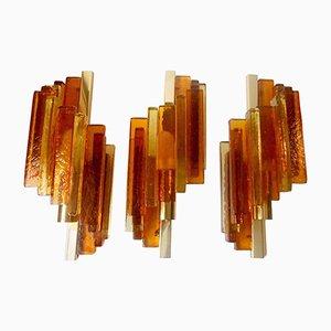 Apliques Rustik de latón y vidrio apilado de Svend Aage Holm Sorensen para Hassel & Teut, años 50. Juego de 3