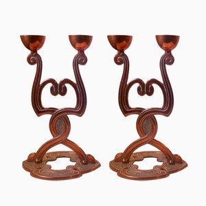 Candelabros daneses Art Nouveau antiguos de cobre. Juego de 2