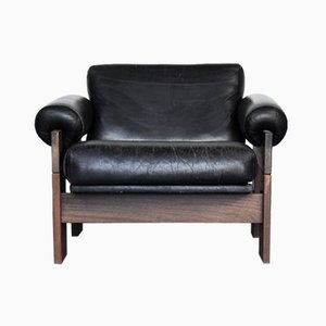 Model SZ73 Black Leather & Wenge Lounge Chair by Martin Visser for 't Spectrum, 1960s