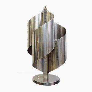 Lampada da tavolo vintage in alluminio placcato in cromo