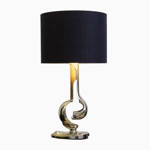 Lampada da tavolo vintage in metallo cromato ed ottone