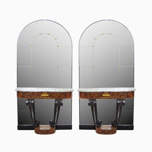 Art Deco Consoles with Mirror in Burl Wood, Marble, & Cast Iron, 1930s, Set of 2