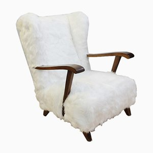 Faux Fur Armchairs, 1950s, Set of 2