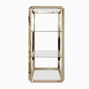 Estante vintage de vidrio y metal cromado