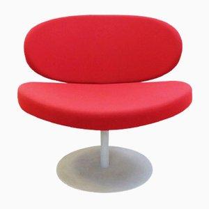 Chaise Pivotante Vintage Rouge avec Base Ronde