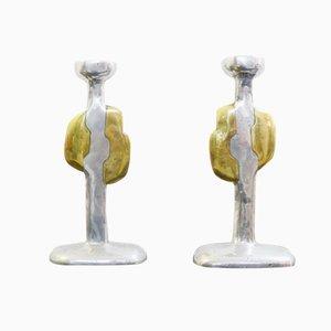 Bougeoirs en Fonte d'Aluminium & Laiton par David Marshall, Espagne, 1970s, Set de 2